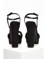 Forever 21 - Black Strappy Faux Suede Platform Sandals - Lyst