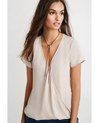 Forever 21 | Brown Lace-paneled Twist Surplice Top | Lyst