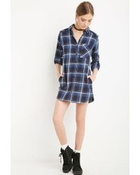 Forever 21 - Blue Plaid Flannel Shirt Dress - Lyst