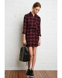 Forever 21 - Black Plaid Flannel Shirt Dress - Lyst