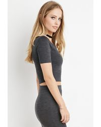 Forever 21 - Gray Space Dye Crop Top - Lyst