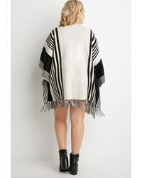 Forever 21 - Black Plus Size Mixed Stripe Fringed Poncho - Lyst