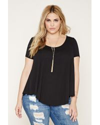 Forever 21 | Black Plus Size Scoop-neck Tee | Lyst