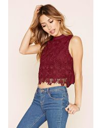 Forever 21   Red Floral Crochet-front Top   Lyst