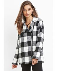 Forever 21 | Black Zip-front Buffalo Plaid Coat | Lyst