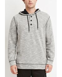 Forever 21 - Gray Marled Knit Hoodie for Men - Lyst