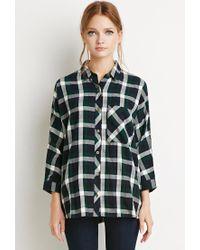Forever 21 - Black Boxy Plaid Shirt - Lyst