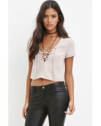 Forever 21 | Natural Lace-up Crop Top | Lyst