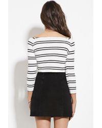 Forever 21 - Natural Striped Off-the-shoulder Crop Top - Lyst