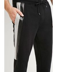 Forever 21 - Black Faux Leather-paneled Joggers for Men - Lyst