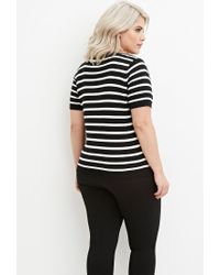 Forever 21 - Black Plus Size Striped Sweater - Lyst