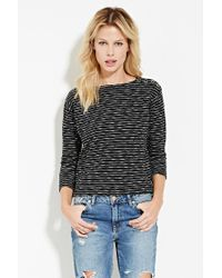 Forever 21 | Black French Terry Stripe Top | Lyst