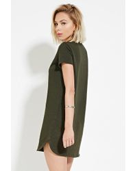 Forever 21 - Green Slub Knit T-shirt Dress - Lyst