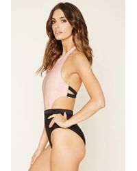 Forever 21 | Black Colorblock One-piece | Lyst
