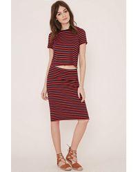Forever 21 | Blue Striped Pencil Skirt | Lyst