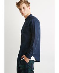 Forever 21 - Blue Contrast-trimmed Oxford Shirt for Men - Lyst