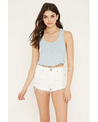Forever 21   Blue Ribbed Knit Crop Top   Lyst