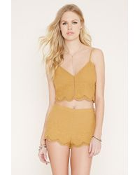 Forever 21 - Yellow Embroidered Cropped Cami - Lyst