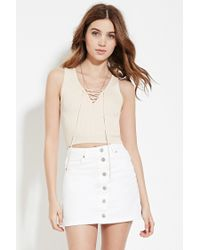Forever 21 - Natural Women's Lace-up Sweater Top - Lyst