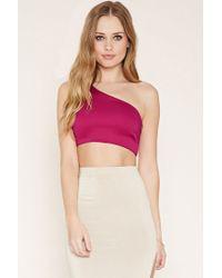 Forever 21 | Pink One-shoulder Crop Top | Lyst