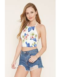 Forever 21   Blue Lace-up Floral Print Cami   Lyst