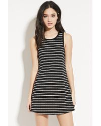 Forever 21 | Black Striped Fit And Flare Dress | Lyst