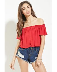 Forever 21 | Red Button-front Ruffled Crop Top | Lyst
