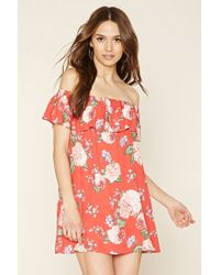 f0b9a9a72ece Lyst - Forever 21 Off-the-shoulder Floral Dress in Red