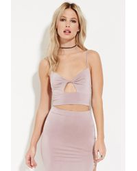 Forever 21 | Purple Twist-front Cropped Cami | Lyst