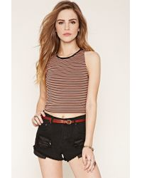 Forever 21 | Black Striped Cotton-blend Tank | Lyst