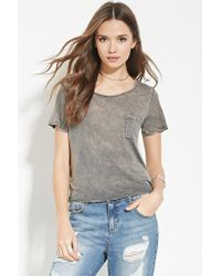 Forever 21 | Gray Contemporary Mineral Wash Tee | Lyst