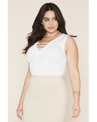 Forever 21 - White Plus Size Lace-up Top - Lyst