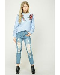 Forever 21 - Blue Rose Embroidered Sweatshirt - Lyst
