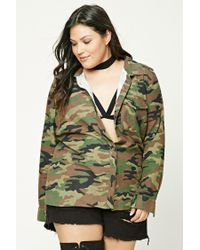 Forever 21 Green Plus Size Graphic Camo Shirt