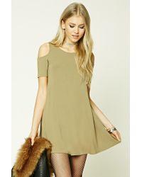 Forever 21 | Green Open-shoulder Swing Dress | Lyst