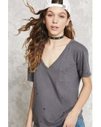 Forever 21   Gray Distressed V-neck Tee   Lyst