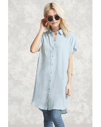 Forever 21 | Blue Chambray Shirt Dress | Lyst