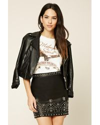 Forever 21 | Black Studded Faux Leather Mini Skirt | Lyst