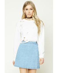 Forever 21   Blue Denim Wrap Mini Skirt   Lyst