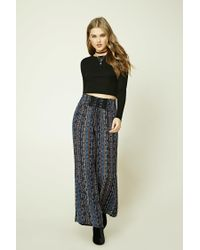 Forever 21 | Blue Geo Print Wide-leg Pants | Lyst
