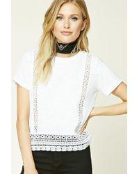 Forever 21   White Contemporary Crochet Tee   Lyst