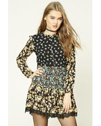 Forever 21 | Black Floral Print Swing Dress | Lyst