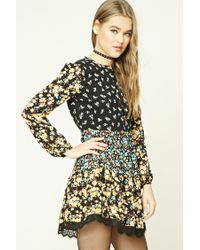 Forever 21 Black Floral Print Swing Dress