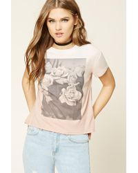 Forever 21 | Pink Rose Graphic Tee | Lyst