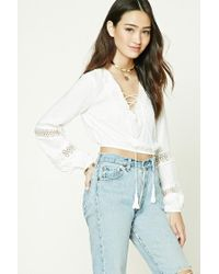 Forever 21 | White Crochet Lace-up Front Top | Lyst