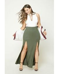 Forever 21 | Green Plus Size M-slit Maxi Skirt | Lyst