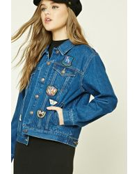 Forever 21 | Blue Patch Graphic Denim Jacket | Lyst