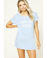 Forever 21 | Blue I Love You Friday Nightdress | Lyst