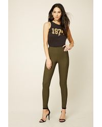 Forever 21 | Green Textured Skinny Pants | Lyst