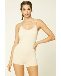 Forever 21 | Natural Seamless Ribbed Knit Bodysuit | Lyst